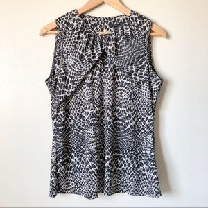 Kenneth Cole Cutout Neck Exotic Print Tank L NWT